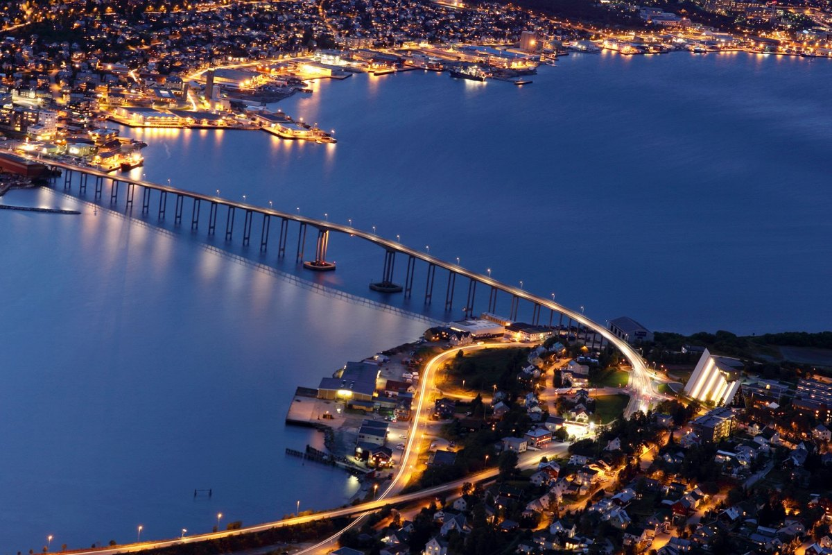 Norway-Tromso Bridge at night