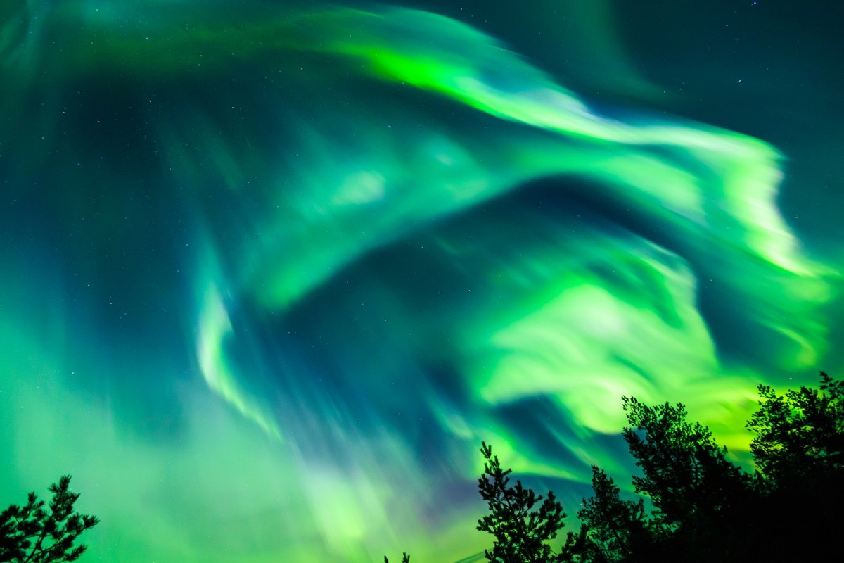 Russia-Colorful Northern lights (Aurora borealis) in the sky