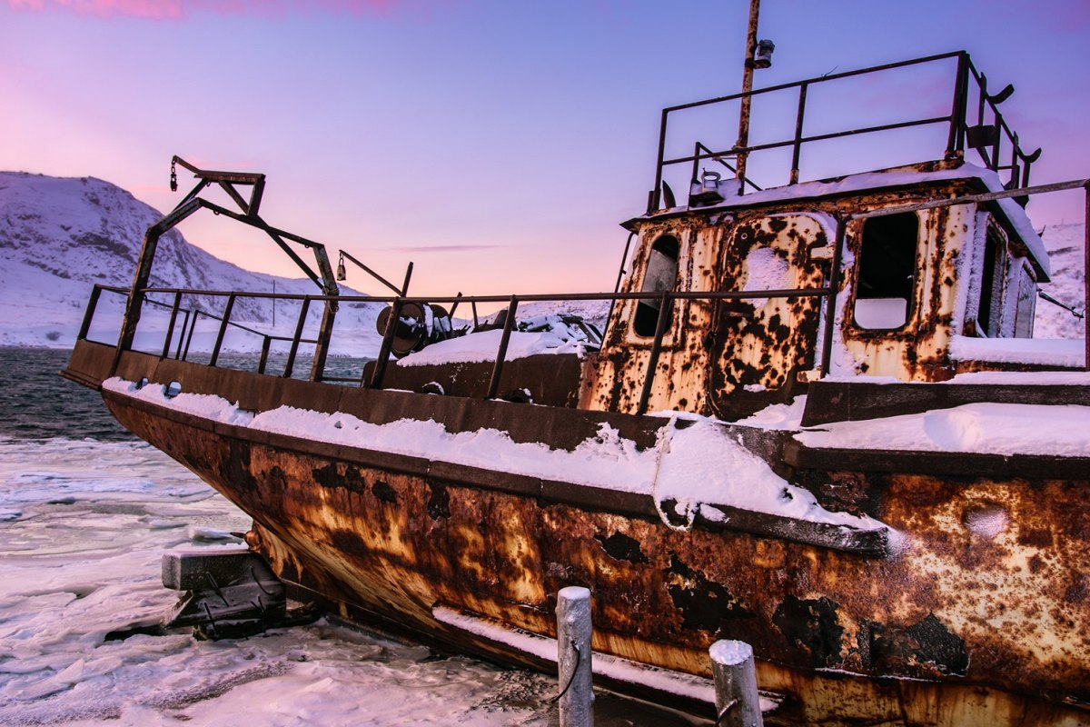 Russia Old rotten fish boat in Teriberka-Murmansk-Region